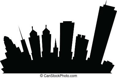város égvonal, bivaly, karikatúra