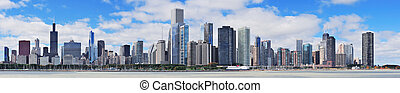 város égvonal, chicago, városi, panoráma