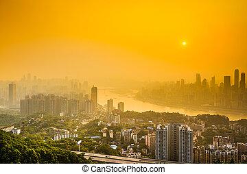 város égvonal, chongqing, yangtze