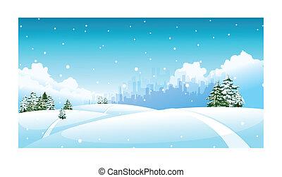 város égvonal, felett, hó parkosít