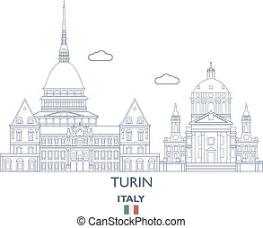 város égvonal, olaszország, turin