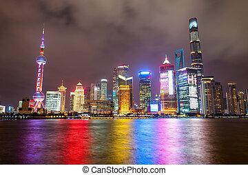 város égvonal, shanghai, éjszaka