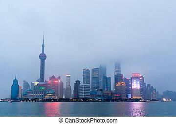 város égvonal, shanghai, napnyugta