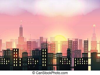 város, égvonal, -, vektor, ábra