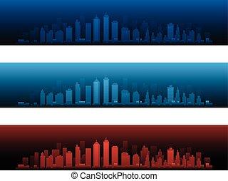 város, égvonal, versions, két, napnyugta, éjszaka