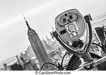 város égvonal, york, új, manhattan, sunset.