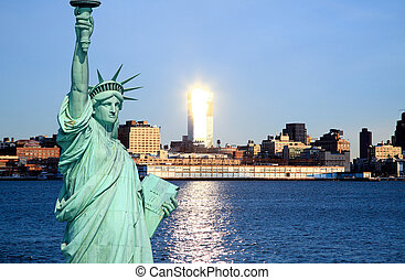 város égvonal, york, új, midtown
