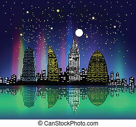 város, éjjel, színpompás