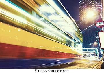 Város, Éjszaka, fény,  modern, Forgalom, Nyomoz