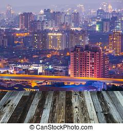 város, éjszaka, kilátás