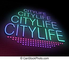 város élet, concept.