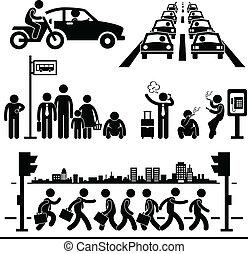 város élet, elfoglalt, pictogram