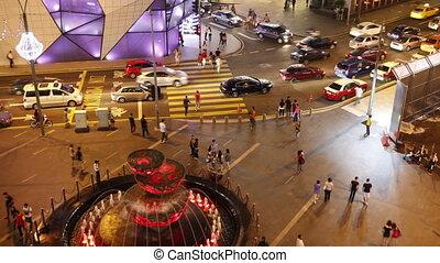 város élet, modern, éjszaka