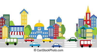 város élet, utcák, épületek, autók