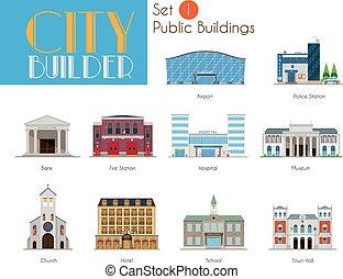 város, építő, állhatatos, 1:, közönség, és, városi épület