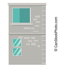 város, épület, vektor, karikatúra, illustration.