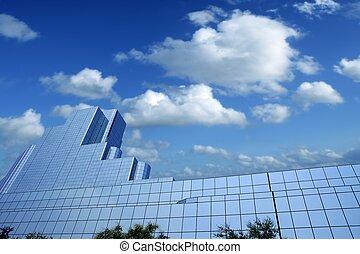 város, épületek, dallas, belvárosi, felhőkarcoló, tükör