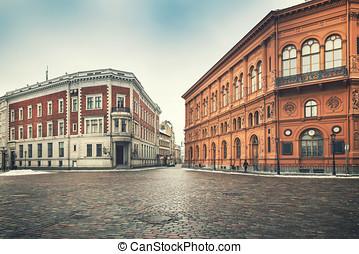 város, épületek, derékszögben, öreg, riga, -, kupola, történelmi