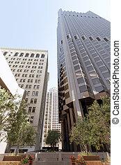 város, épületek, hivatal, modern kortárs, belvárosi, kilátás