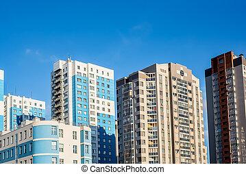 város, épületek, magas, napvilág, panoráma