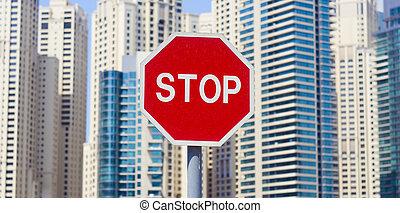 város, épületek, megáll cégtábla, háttér, út