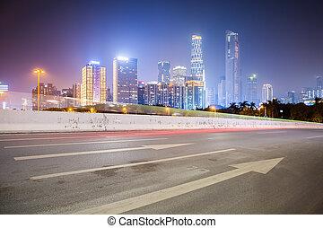 Város, épületek,  modern, út