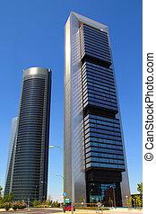 város, épületek, modern, felhőkarcoló, madrid