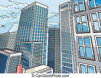 város, épületek, színhely, háttér
