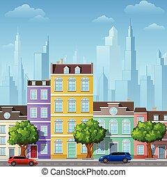 város, épületek, utca, városi