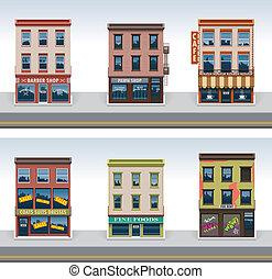 város, épületek, vektor, állhatatos, ikon