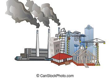 város, és, ipari fejlődés