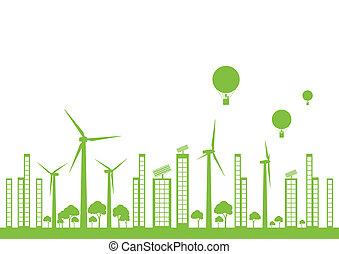 város, ökológia, vektor, zöld háttér, táj