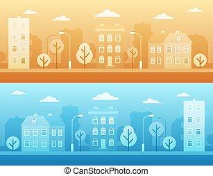 város, öntözőcsövek, színhely, utca, táj, bitófák, háttér., városi