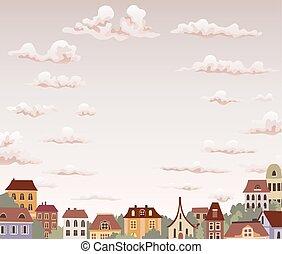 város, öreg, ég, ábra, clouds., vektor, retro