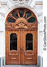 város, öreg, faház, hagyományos, bejárati ajtó, európai