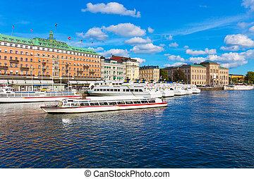 város, öreg, stockholm