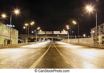 város út, felüljáró, éjjel