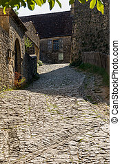 város, ősi, francia, townscape, hagyományos, cobblestone utca, beynac-et-cazenac, housest, franciaország, jellegzetes