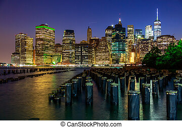 város, alacsonyabb, york, éjszaka, új, manhattan