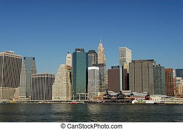 város, alacsonyabb, york, új, láthatár, manhattan