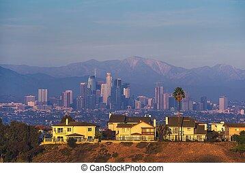 város, angeles, elszabadult, láthatár, kalifornia, fényűzés, háttér, villa
