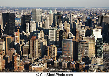 város, antenna, felhőkarcoló, láthatár, york, új, manhattan, kilátás