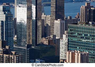 város, antenna, felhőkarcoló, modern, pohár, láthatár, york, új, manhattan, kilátás