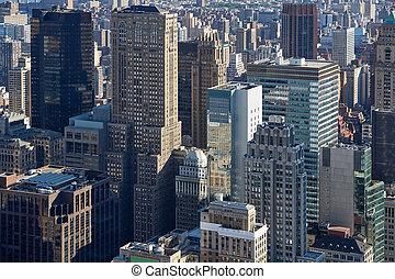 város, antenna, felhőkarcoló, reggel, láthatár, york, új, manhattan, kilátás