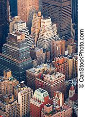 város, antenna, láthatár, york, új, manhattan, kilátás