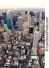város, antenna, utca, york, új, manhattan, kilátás