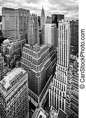 város, antenna, york, új, manhattan, kilátás