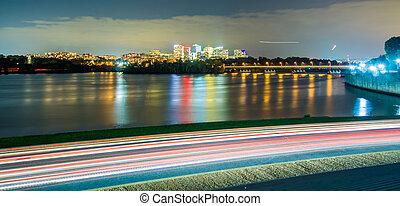 város, arlington, usa, rosslyn, virginia, láthatár, potomac folyó
