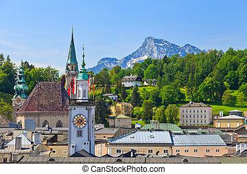város, ausztria, öreg, salzburg