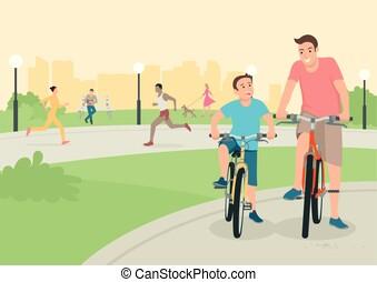 város, bicikli, atya, liget, fiú, lovaglás
